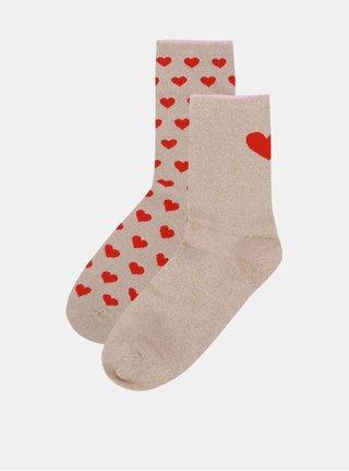 Súprava dvoch párov ponožiek v béžovej a zlatej farbe VERO MODA Valenti