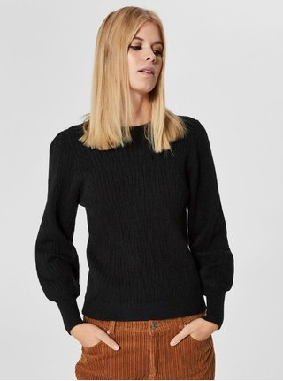 Pulover negru cu maneci bufante Selected Femme Phillipa