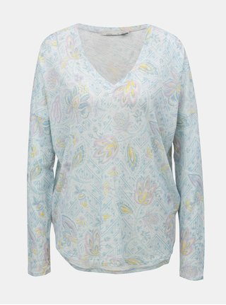 Tricou alb floral cu spate mai lung prAna Shiloh