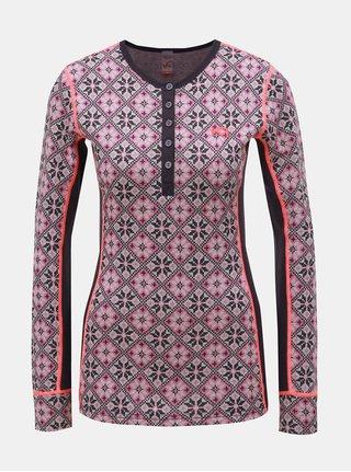 Tricou functional mov din lana cu nasturi Kari Traa Rose