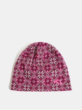 Tmavoružová vlnená vzorovaná čiapka Kari Traa Rose