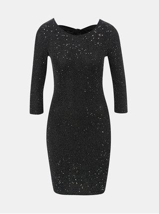 Černé třpytivé šaty s mašlí TALLY WEiJL
