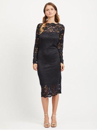 a92917da8b5 Černé pouzdrové krajkové šaty s dlouhým rukávem VILA Grit