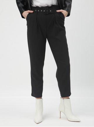 Černé zkrácené kalhoty s vysokým pasem a páskem TALLY WEiJL