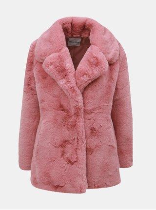 Starorůžový krátký kabát z umělé kožešiny TALLY WEiJL