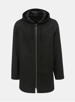 Čierny kabát s kapucňou a prímesou vlny Shine Original