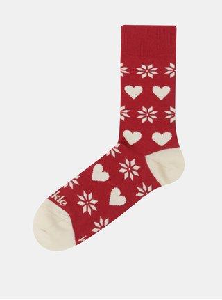 Červené unisex ponožky s vianočným motívom Fusakle Na Vianoce doma