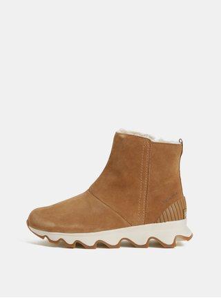 Hnědé dámské zimní kotníkové voděodolné boty v semišové úpravě SOREL Kinetic