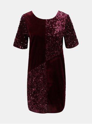 Vínové sametové flitrované šaty Dorothy Perkins e1363aadf5