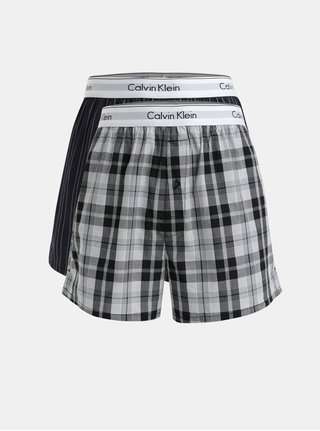 Set de 2 boxeri cu model gri inchis si gri Calvin Klein Underwear