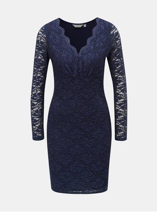 Tmavomodré čipkované šaty s trblietavým efektom Dorothy Perkins Petite a8fb48d7c5c