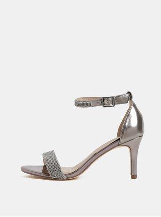 Sandale roz cu aspect metalic si toc inalt Dorothy Perkins