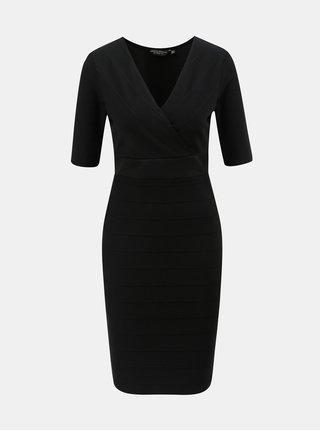 Černé pouzdrové šaty s překládaným výstřihem Dorothy Perkins