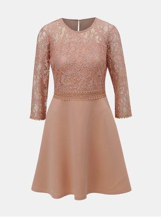 Světle růžové šaty s krajkovým topem Dorothy Perkins 386c2ac30d7