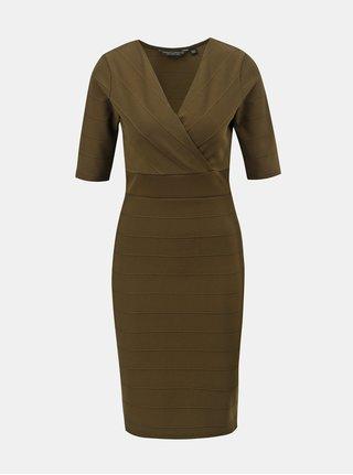 Kaki puzdrové šaty s prekladaným výstrihom Dorothy Perkins d7a3bbbf704