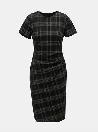 Tmavě šedé kostkované šaty s řasením na boku Dorothy Perkins
