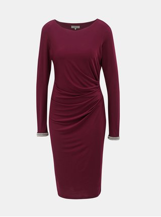 Rochie bordo cu pliuri laterale Billie & Blossom by Dorothy Perkins Tall