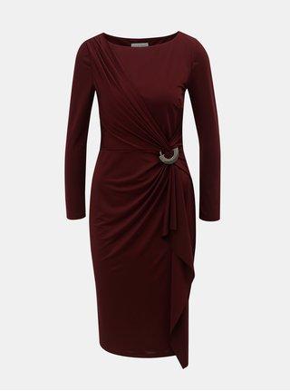 Vínové šaty s volánem s kovovou ozdobou Lily   Franc by Dorothy Perkins 6df7ef9d3d