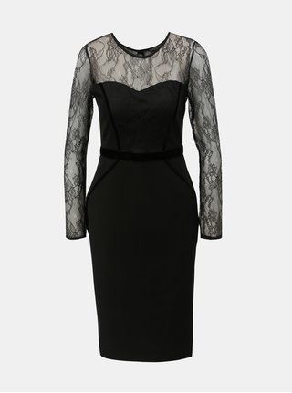 Černé pouzdrové šaty s krajkovými detaily Dorothy Perkins 5b66bd4210f