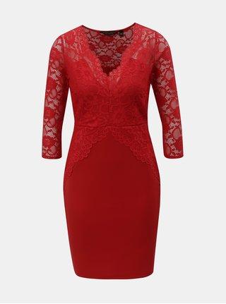 Červené puzdrové šaty s čipkovanými detailmi Dorothy Perkins