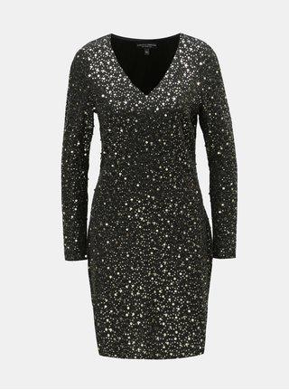 Čierne puzdrové šaty s flitrami v zlatej farbe Dorothy Perkins