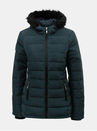 Petrolejová zimní prošívaná bunda s umělým kožíškem Dorothy Perkins