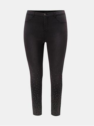 Tmavě šedé slim džíny s ozdobnou aplikací na nohavicích Dorothy Perkins Curve