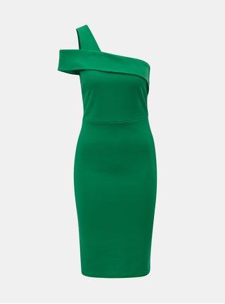 Zelené šaty na jedno rameno Dorothy Perkins