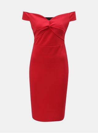 Červené šaty s odhalenými rameny Dorothy Perkins