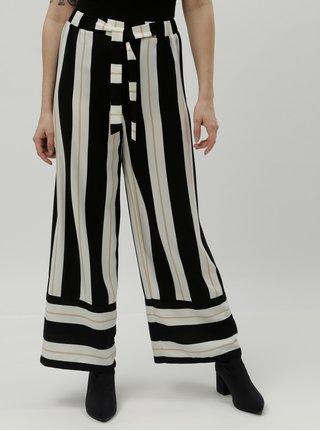 Krémovo–čierne pruhované široké nohavice s vysokým pásom Dorothy Perkins