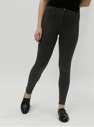 Tmavosivé vzorované skinny nohavice s vysokým pásom Dorothy Perkins