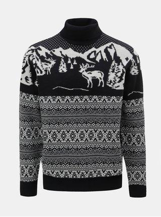 Bílo-modrý svetr s vánočním motivem a rolákem Burton Menswear London