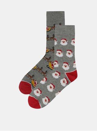 Šedé unisex ponožky s vánočním motivem Burton Menswear London