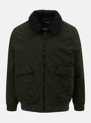 Khaki zimní bunda s umělým kožíškem na límci Burton Menswear London