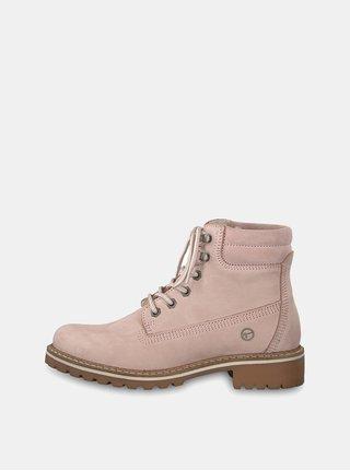 Svetloružové semišové členkové topánky Tamaris