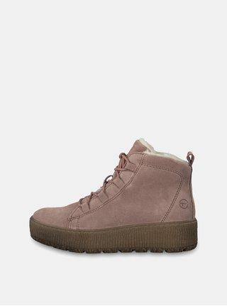 Starorůžové semišové kotníkové zimní boty na platformě Tamaris 7151fa7f5a