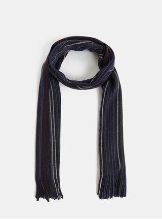 Fular bordo-albastru in dungi Burton Menswear London