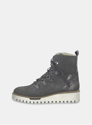 Šedé semišové kotníkové zimní boty s vlněnou podšívkou Tamaris
