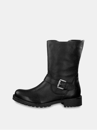 Čierne kožené nízke čižmy so zateplenou podšívkou Tamaris 4dbc969e2c0