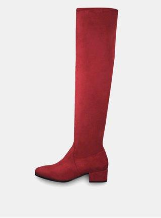 Červené vysoké čižmy v semišovej úprave Tamaris 7de52136000