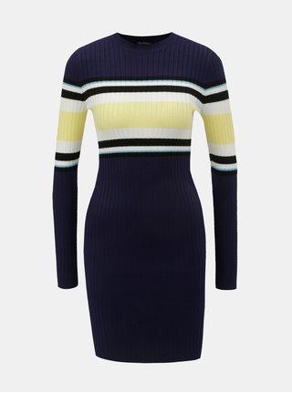 Rochie galben-albastru tricotata cu maneci lungi Miss Selfridge