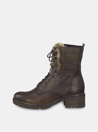 d0a28c1a4178 Tmavohnedé kožené členkové topánky so zateplenou podšívkou Tamaris