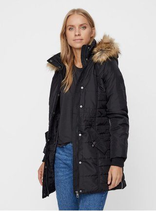 Černý zimní kabát VERO MODA Idol