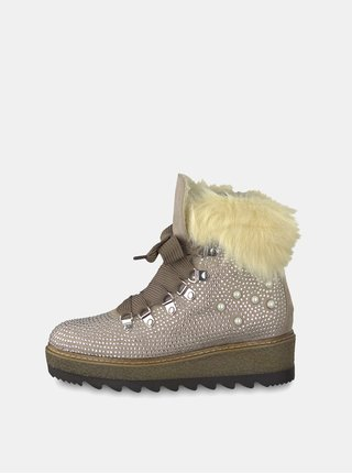 Béžové zimné topánky v semišovej úprave na platforme s ozdobnými kamienkami Tamaris