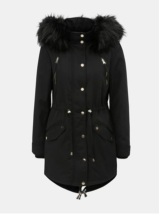 Černá zimní parka s umělým kožíškem Miss Selfridge