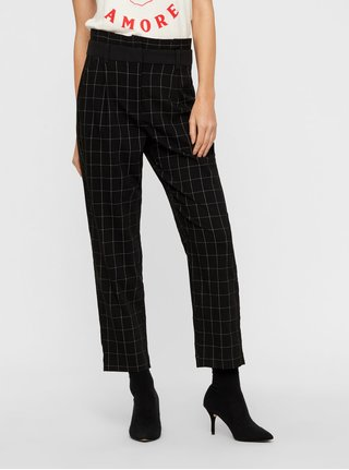 Černé kostkované zkrácené kalhoty s vysokým pasem VERO MODA