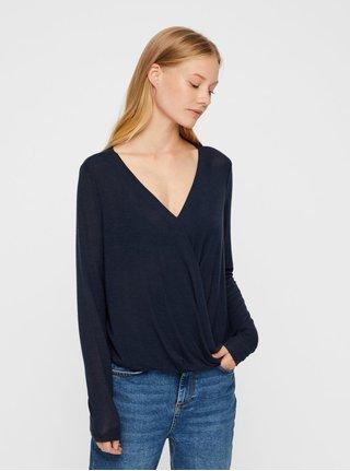 Tmavě modré tričko s překládaným předním dílem VERO MODA Peja