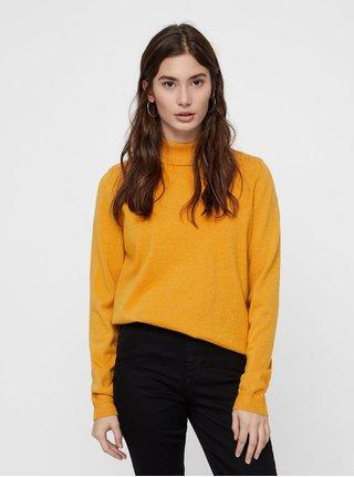 Oranžový třpytivý svetr s rolákem VERO MODA Karis