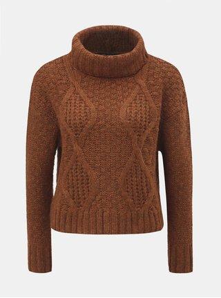 Hnědý krátký svetr s rolákem Miss Selfridge 2ada5b204b