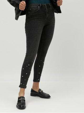 Blugi gri skinny pana la glezne cu margele decorative Miss Selfridge